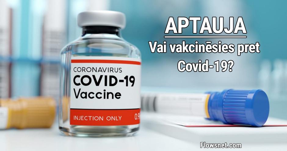 PIEDALIES APTAUJĀ: Vai vakcinēsies pret Covid-19? Šobrīd gatavi 50%, bet pret vakcinēšanos noskaņoti 38% iedzīvotāju